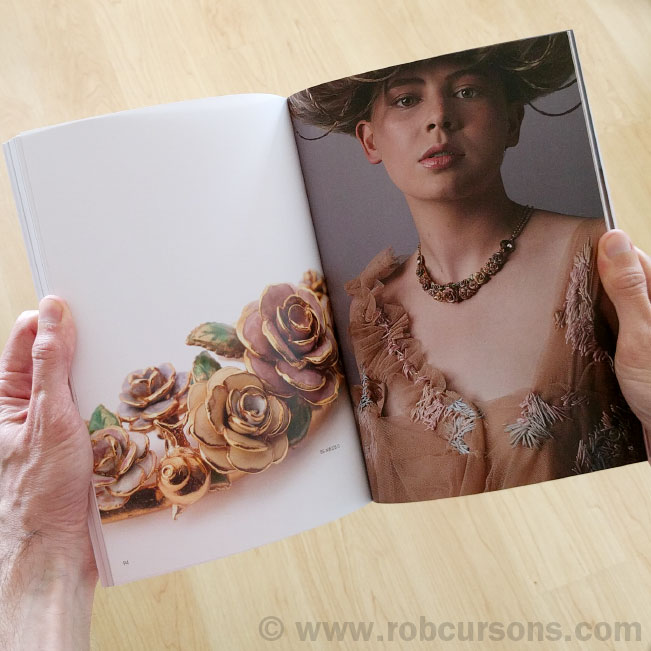 Vintage rose collection with model Emilia Smith wearing a floral necklace