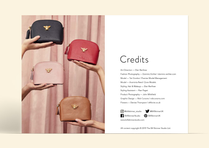 Credits page of look book with gold and leather bee bags