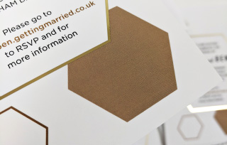 Gold foil honeycomb hexagon printed wedding invites